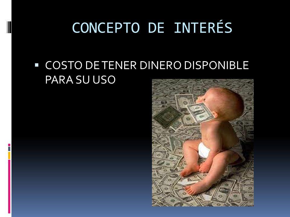 CONCEPTO DE INTERÉS COSTO DE TENER DINERO DISPONIBLE PARA SU USO