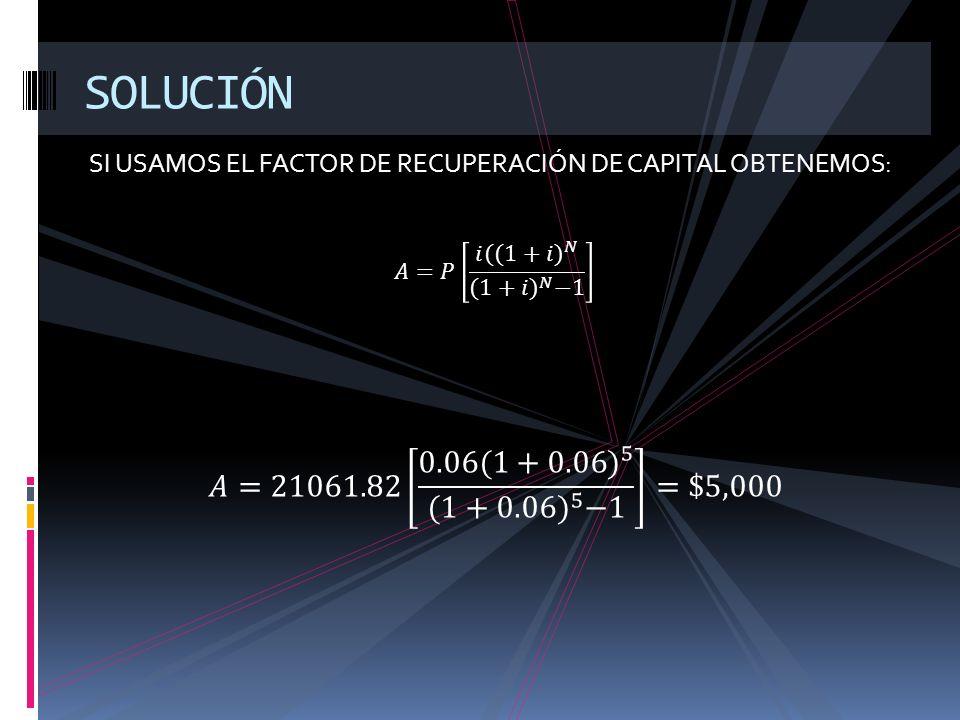 SI USAMOS EL FACTOR DE RECUPERACIÓN DE CAPITAL OBTENEMOS: SOLUCIÓN