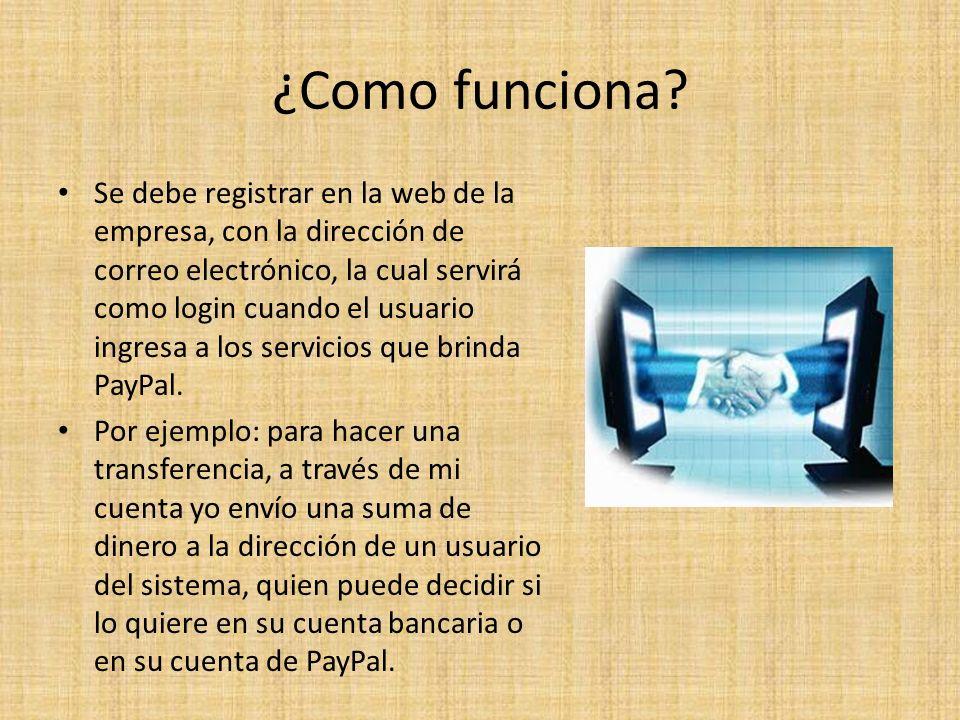 ¿Como funciona? Se debe registrar en la web de la empresa, con la dirección de correo electrónico, la cual servirá como login cuando el usuario ingres