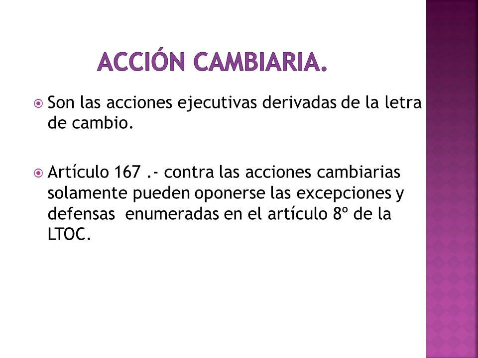 Son las acciones ejecutivas derivadas de la letra de cambio. Artículo 167.- contra las acciones cambiarias solamente pueden oponerse las excepciones y