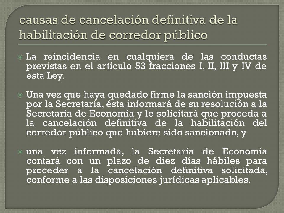 La reincidencia en cualquiera de las conductas previstas en el artículo 53 fracciones I, II, III y IV de esta Ley. Una vez que haya quedado firme la s