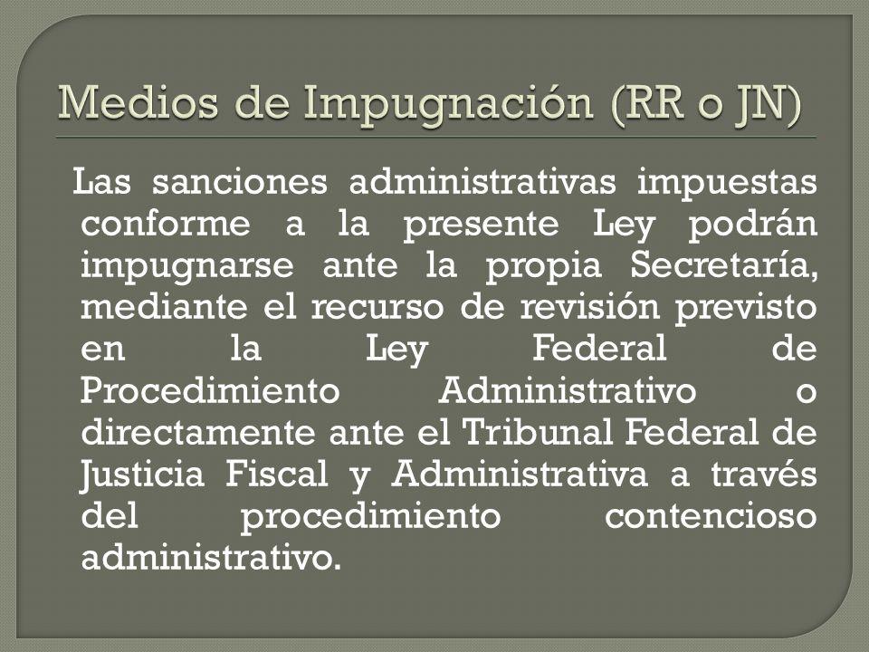 Las sanciones administrativas impuestas conforme a la presente Ley podrán impugnarse ante la propia Secretaría, mediante el recurso de revisión previs