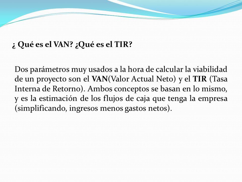 ¿ Qué es el VAN.¿Qué es el TIR.