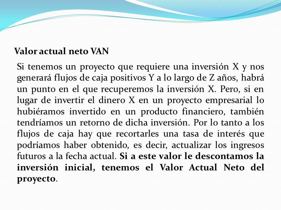 Valor actual neto VAN Si tenemos un proyecto que requiere una inversión X y nos generará flujos de caja positivos Y a lo largo de Z años, habrá un punto en el que recuperemos la inversión X.