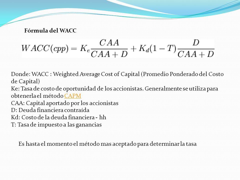 Fórmula del WACC Es hasta el momento el método mas aceptado para determinar la tasa Donde: WACC : Weighted Average Cost of Capital (Promedio Ponderado del Costo de Capital) Ke: Tasa de costo de oportunidad de los accionistas.