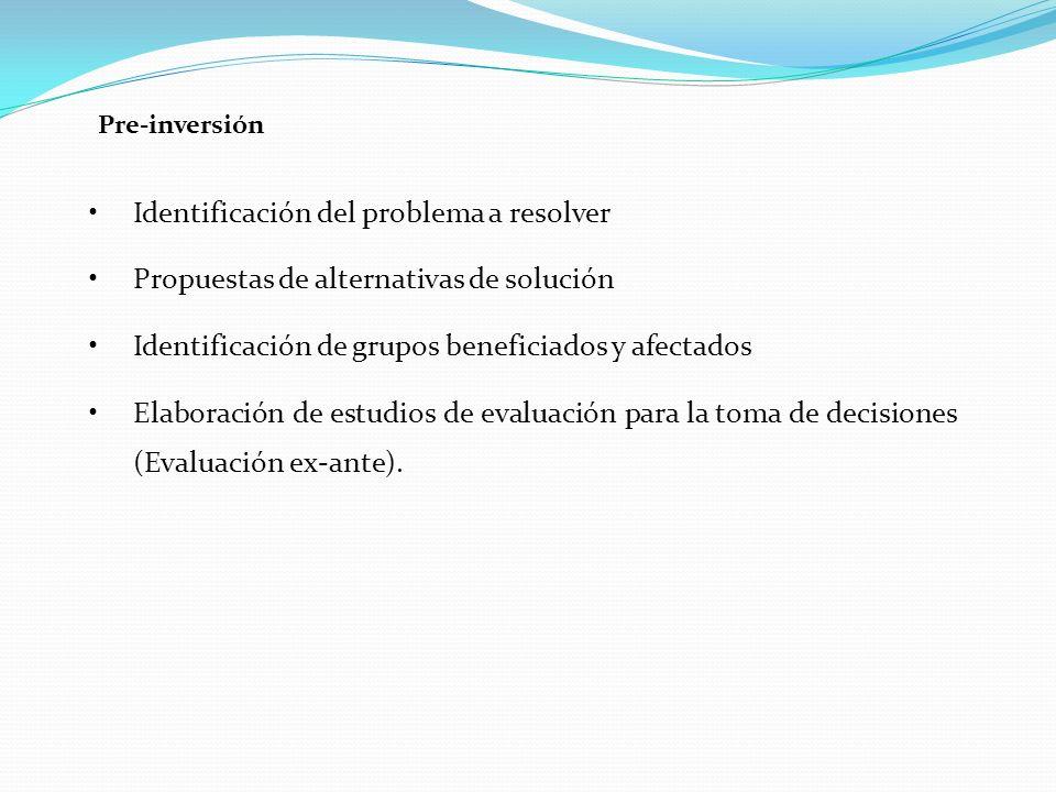 Pre-inversión Identificación del problema a resolver Propuestas de alternativas de solución Identificación de grupos beneficiados y afectados Elaboración de estudios de evaluación para la toma de decisiones (Evaluación ex-ante).