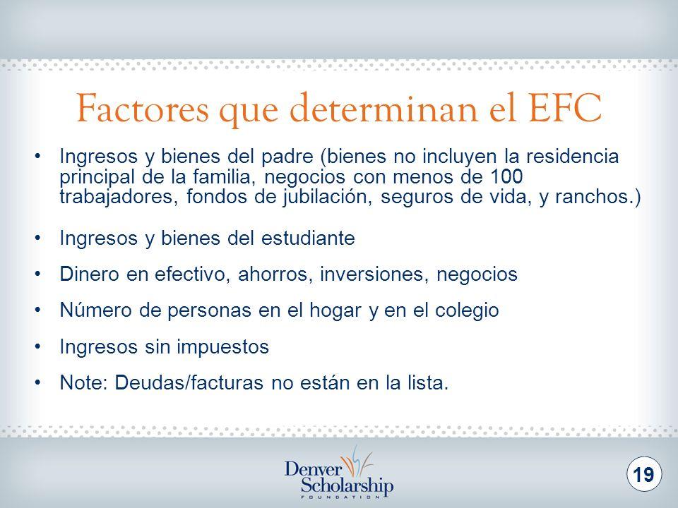 Factores que determinan el EFC 19 Ingresos y bienes del padre (bienes no incluyen la residencia principal de la familia, negocios con menos de 100 tra