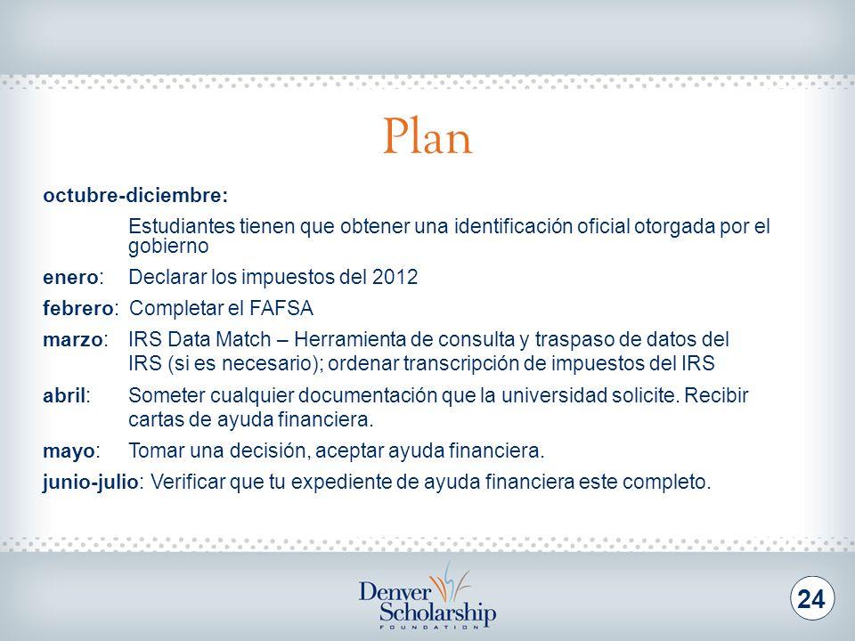 Plan 24 octubre-diciembre: Estudiantes tienen que obtener una identificación oficial otorgada por el gobierno enero: Declarar los impuestos del 2012 f