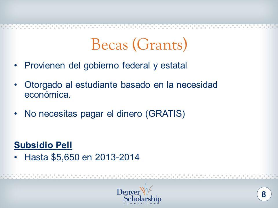 Becas (Grants) 8 Provienen del gobierno federal y estatal Otorgado al estudiante basado en la necesidad económica. No necesitas pagar el dinero (GRATI