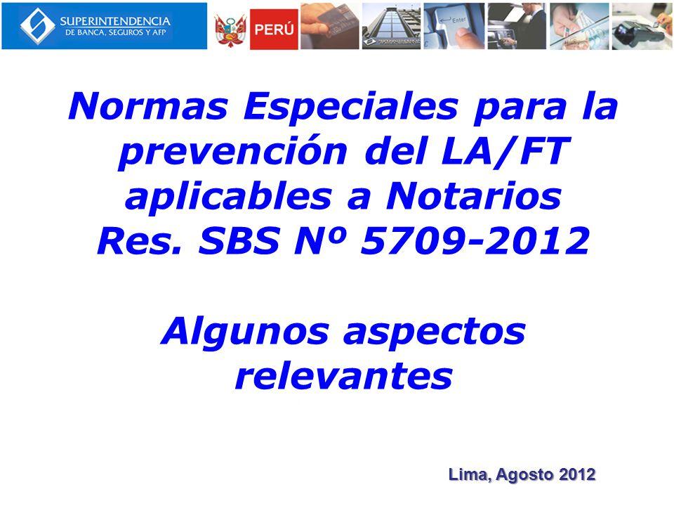 Normas Especiales para la prevención del LA/FT aplicables a Notarios Res.