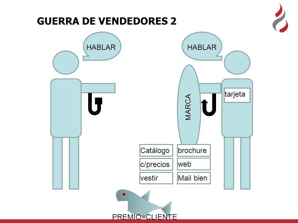 MARCA HABLAR tarjeta GUERRA DE VENDEDORES 2 brochure web Mail bien Catálogo c/precios vestir PREMIO=CLIENTE