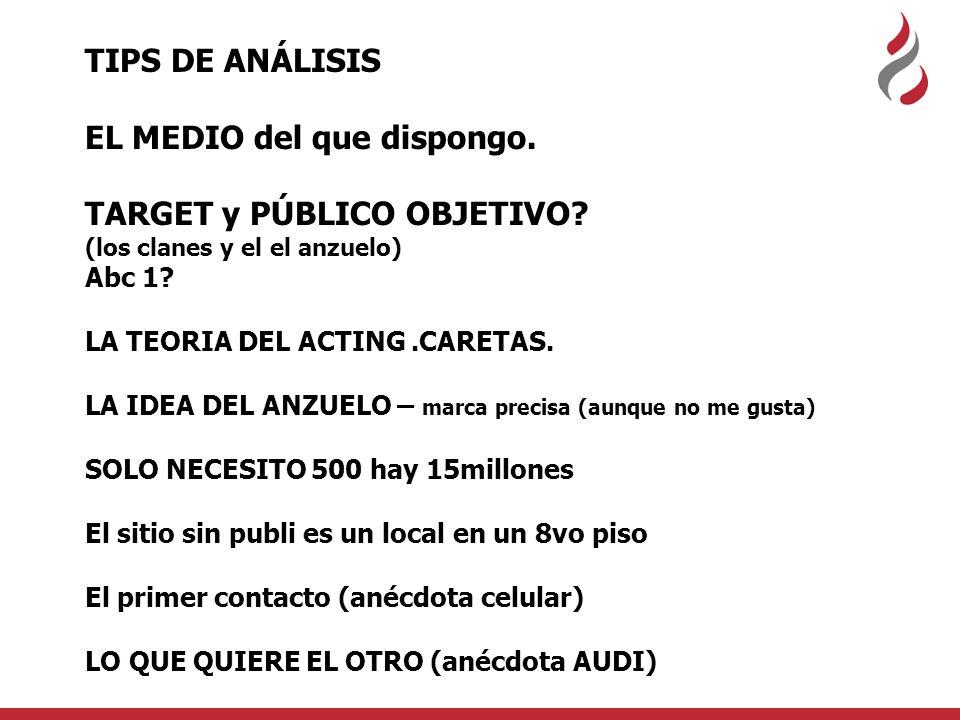 TIPS DE ANÁLISIS EL MEDIO del que dispongo. TARGET y PÚBLICO OBJETIVO.