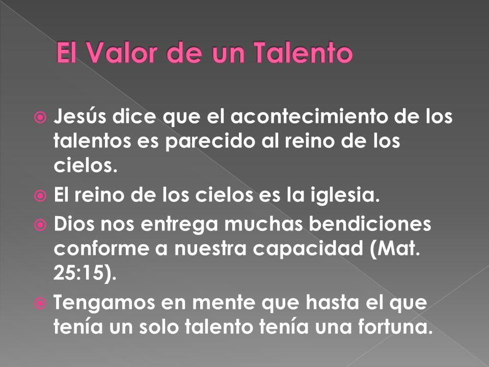 Jesús dice que el acontecimiento de los talentos es parecido al reino de los cielos.