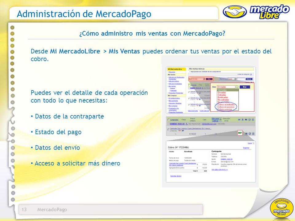 MercadoPago Administración de MercadoPago 13 Desde Mi MercadoLibre > Mis Ventas puedes ordenar tus ventas por el estado del cobro. ¿Cómo administro mi