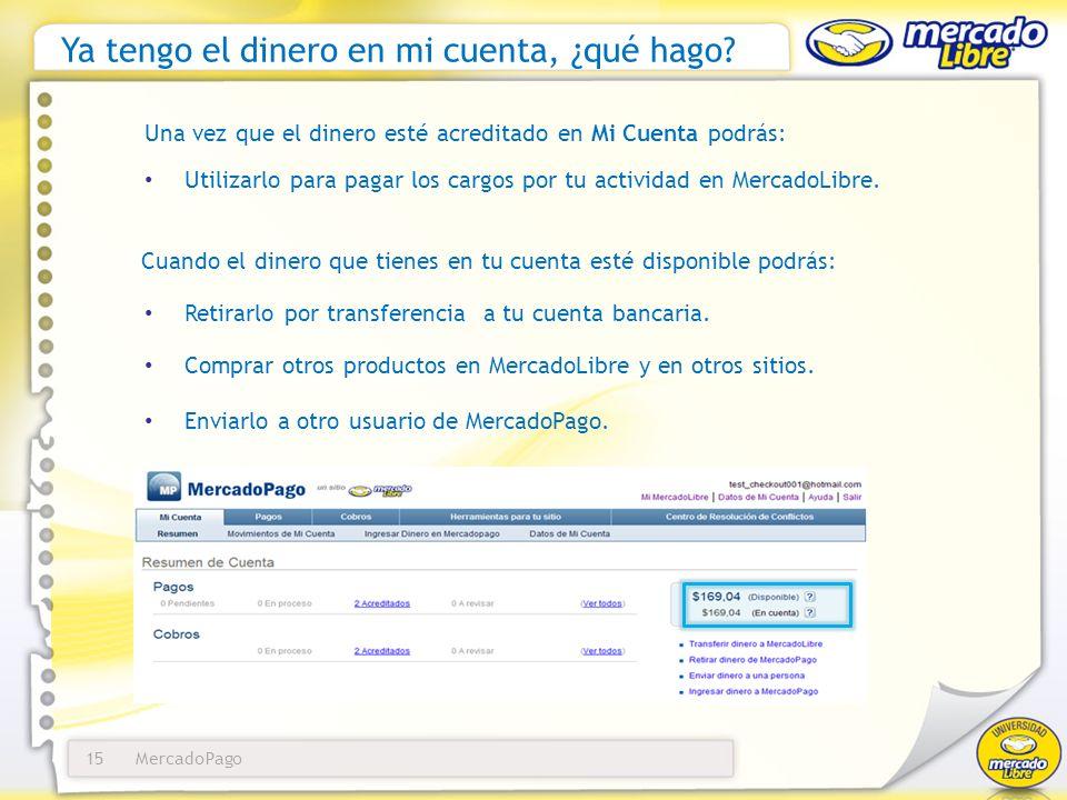 MercadoPago16 Pagar mi factura de MercadoLibre En Pagos ingresa en la solapa Transferir dinero a MercadoLibre.