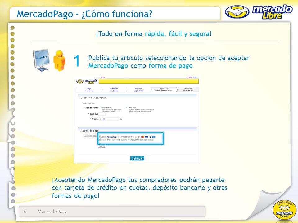 MercadoPago6 MercadoPago - ¿Cómo funciona? ¡Todo en forma rápida, fácil y segura! Publica tu artículo seleccionando la opción de aceptar MercadoPago c