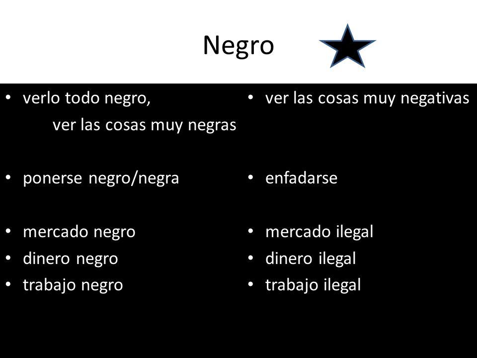 Negro verlo todo negro, ver las cosas muy negras ponerse negro/negra mercado negro dinero negro trabajo negro ver las cosas muy negativas enfadarse me