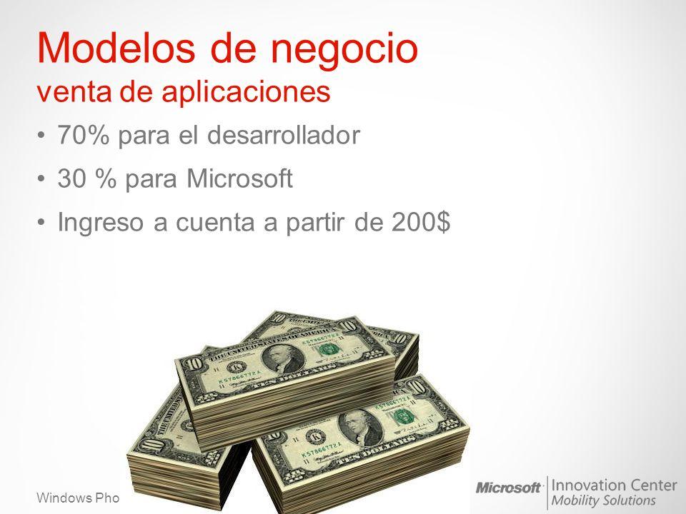 Windows Phone Modelos de negocio venta de aplicaciones 70% para el desarrollador 30 % para Microsoft Ingreso a cuenta a partir de 200$