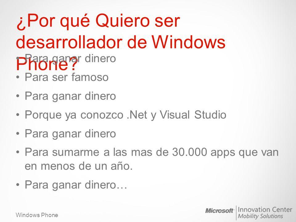 Windows Phone ¿Por qué Quiero ser desarrollador de Windows Phone? Para ganar dinero Para ser famoso Para ganar dinero Porque ya conozco.Net y Visual S