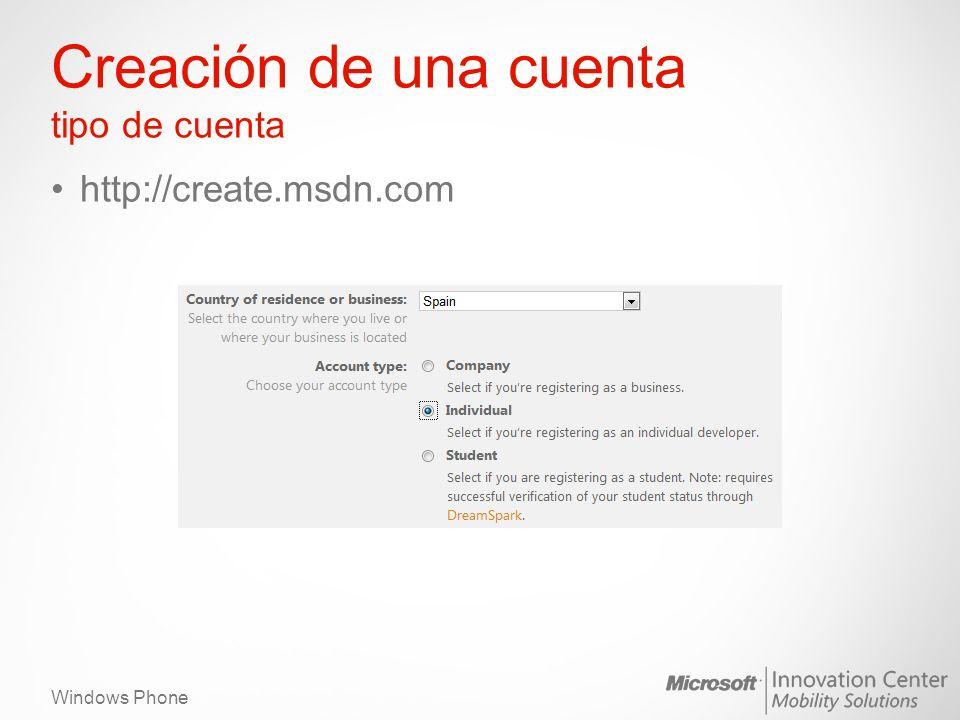 Windows Phone Creación de una cuenta tipo de cuenta http://create.msdn.com