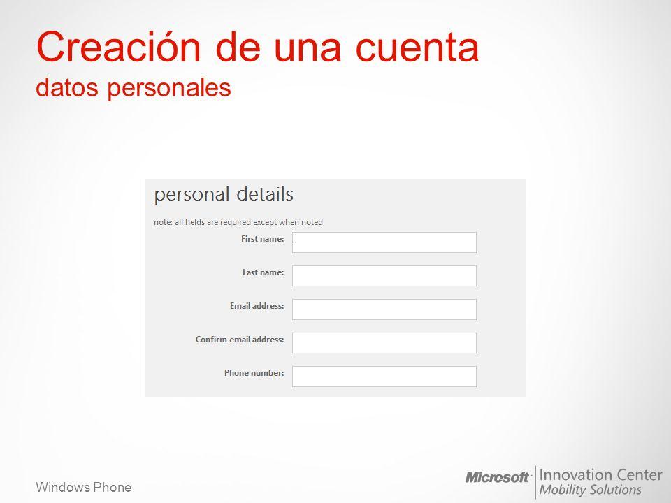 Windows Phone Creación de una cuenta datos personales