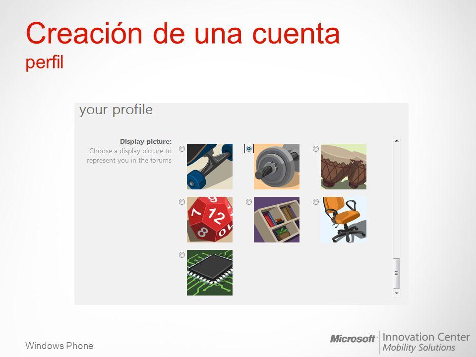 Windows Phone Creación de una cuenta perfil