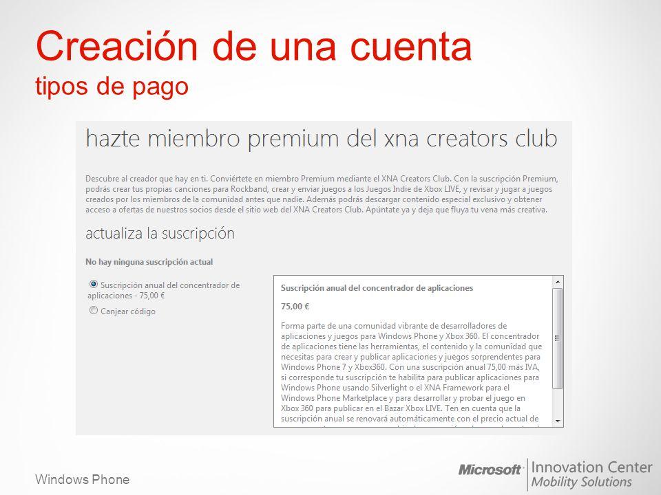 Windows Phone Creación de una cuenta tipos de pago
