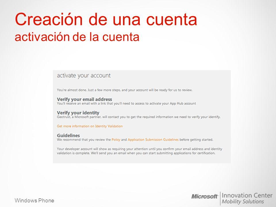 Windows Phone Creación de una cuenta activación de la cuenta