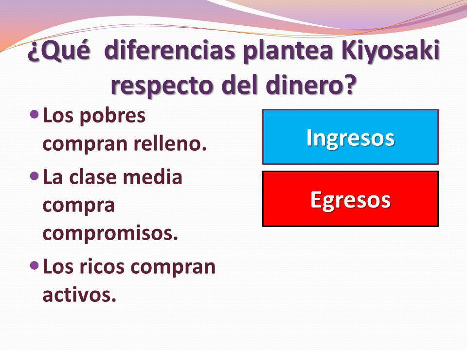 ¿Qué diferencias plantea Kiyosaki respecto del dinero? Los pobres compran relleno. La clase media compra compromisos. Los ricos compran activos. Ingre