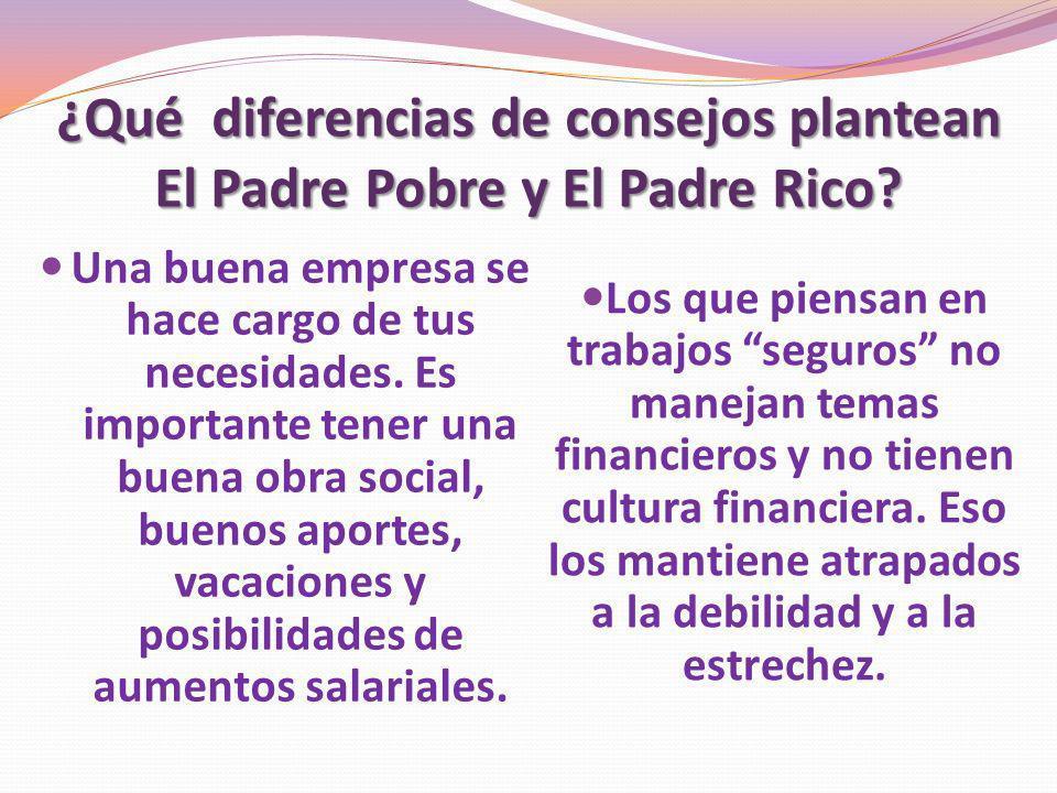 ¿Qué diferencias de consejos plantean El Padre Pobre y El Padre Rico? Una buena empresa se hace cargo de tus necesidades. Es importante tener una buen