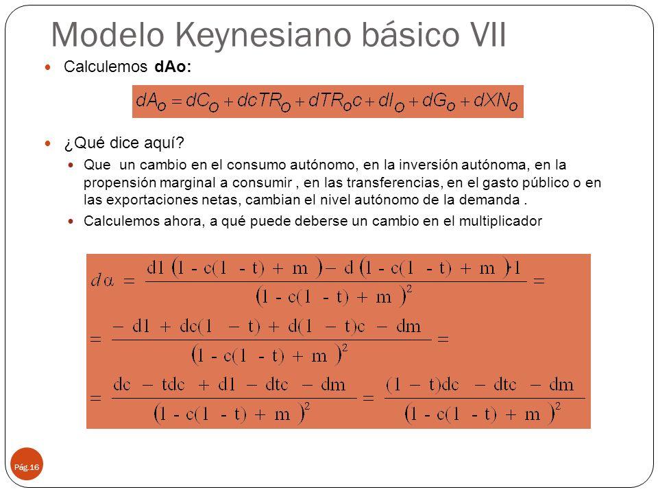 Modelo Keynesiano básico VII Pág.16 Calculemos dAo: ¿Qué dice aquí? Que un cambio en el consumo autónomo, en la inversión autónoma, en la propensión m