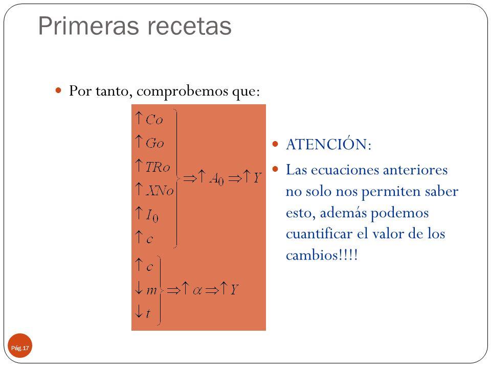 Primeras recetas Pág.17 Por tanto, comprobemos que: ATENCIÓN: Las ecuaciones anteriores no solo nos permiten saber esto, además podemos cuantificar el