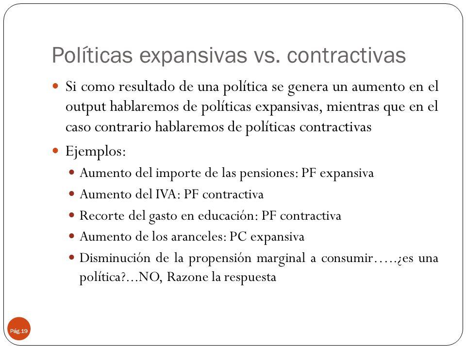 Políticas expansivas vs. contractivas Pág.19 Si como resultado de una política se genera un aumento en el output hablaremos de políticas expansivas, m