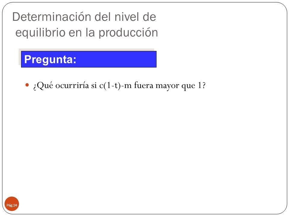 Determinación del nivel de equilibrio en la producción Pág.24 ¿Qué ocurriría si c(1-t)-m fuera mayor que 1? Pregunta: