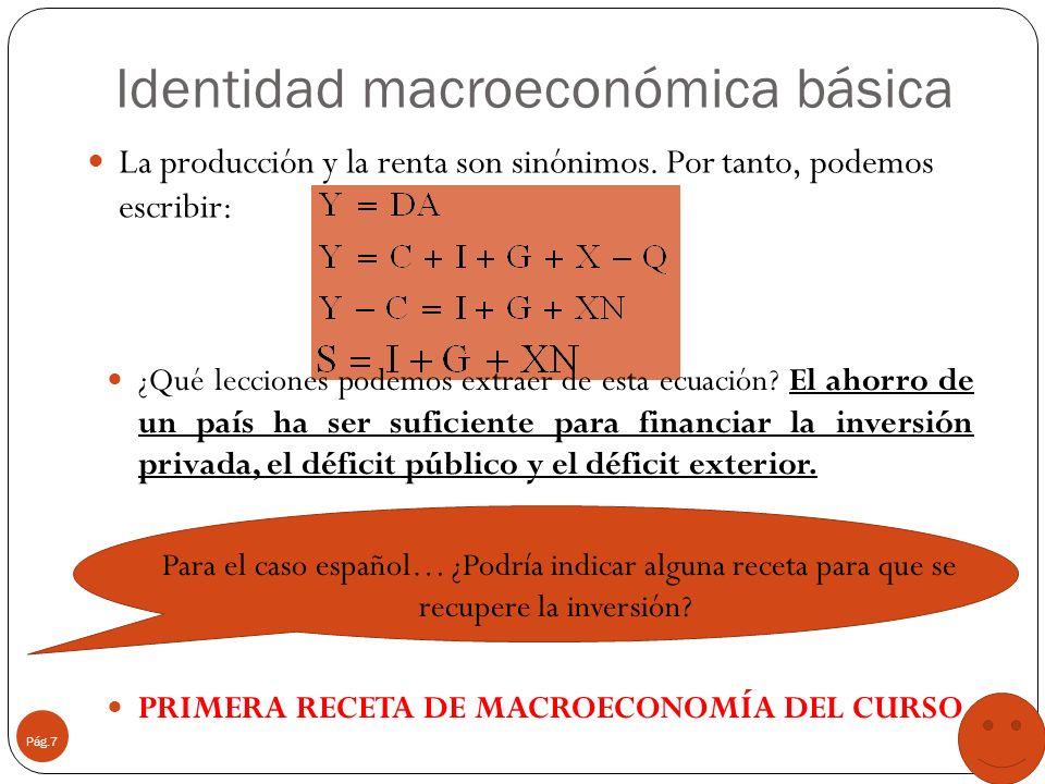 Identidad macroeconómica básica Pág.7 La producción y la renta son sinónimos. Por tanto, podemos escribir: ¿Qué lecciones podemos extraer de esta ecua