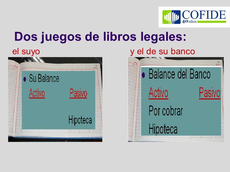 Dos juegos de libros legales: el suyoy el de su banco