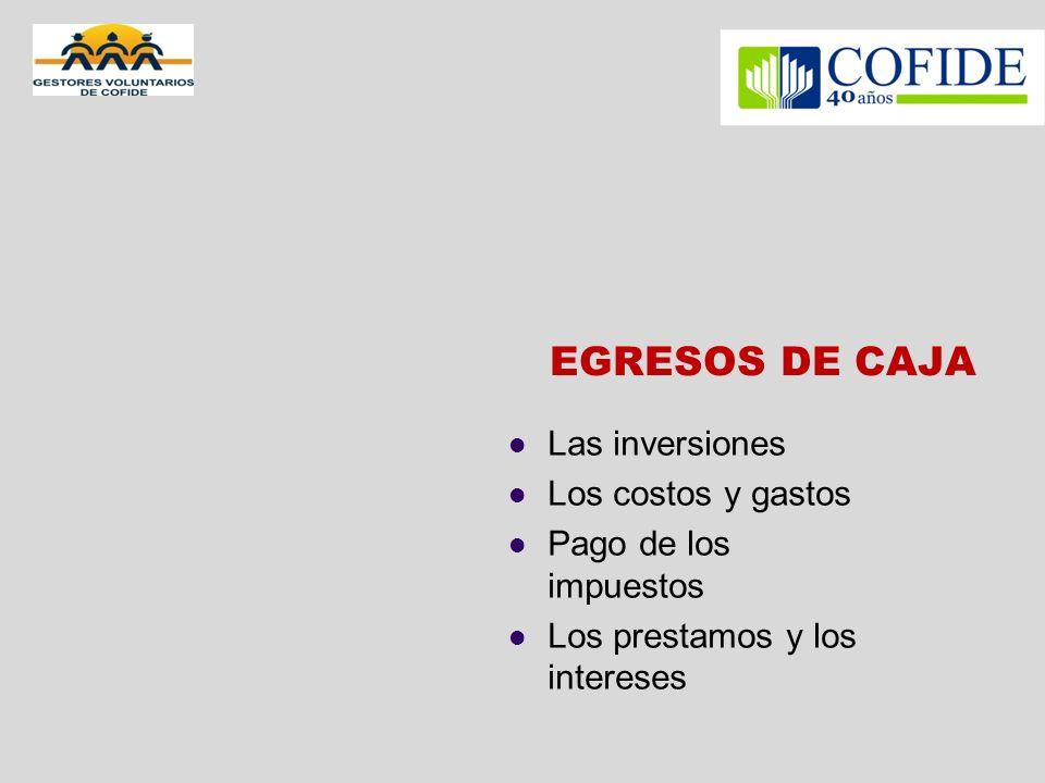 EGRESOS DE CAJA Las inversiones Los costos y gastos Pago de los impuestos Los prestamos y los intereses