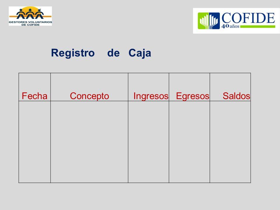 Registro deCaja FechaConceptoIngresosEgresosSaldos