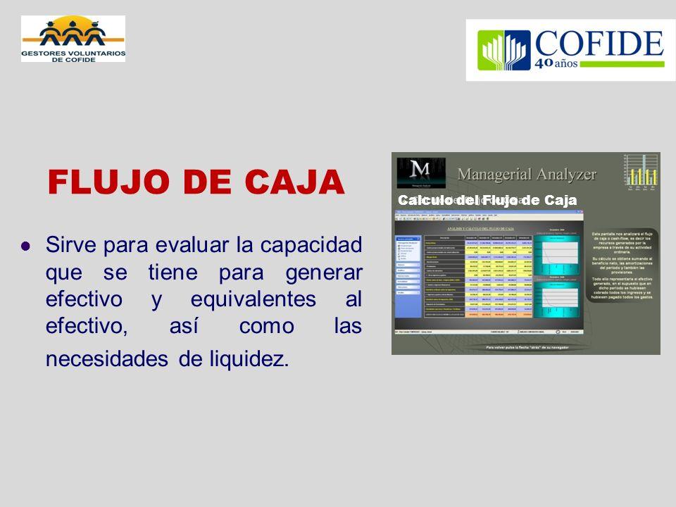 FLUJO DE CAJA Sirve para evaluar la capacidad que se tiene para generar efectivo y equivalentes al efectivo, así como las necesidades de liquidez. Cal