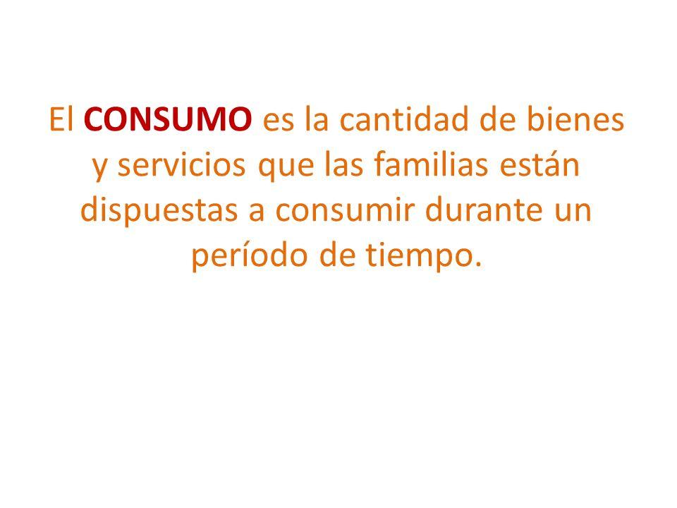 El CONSUMO es la cantidad de bienes y servicios que las familias están dispuestas a consumir durante un período de tiempo.