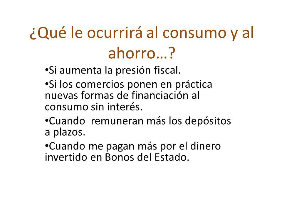 ¿Qué le ocurrirá al consumo y al ahorro…? Si aumenta la presión fiscal. Si los comercios ponen en práctica nuevas formas de financiación al consumo si