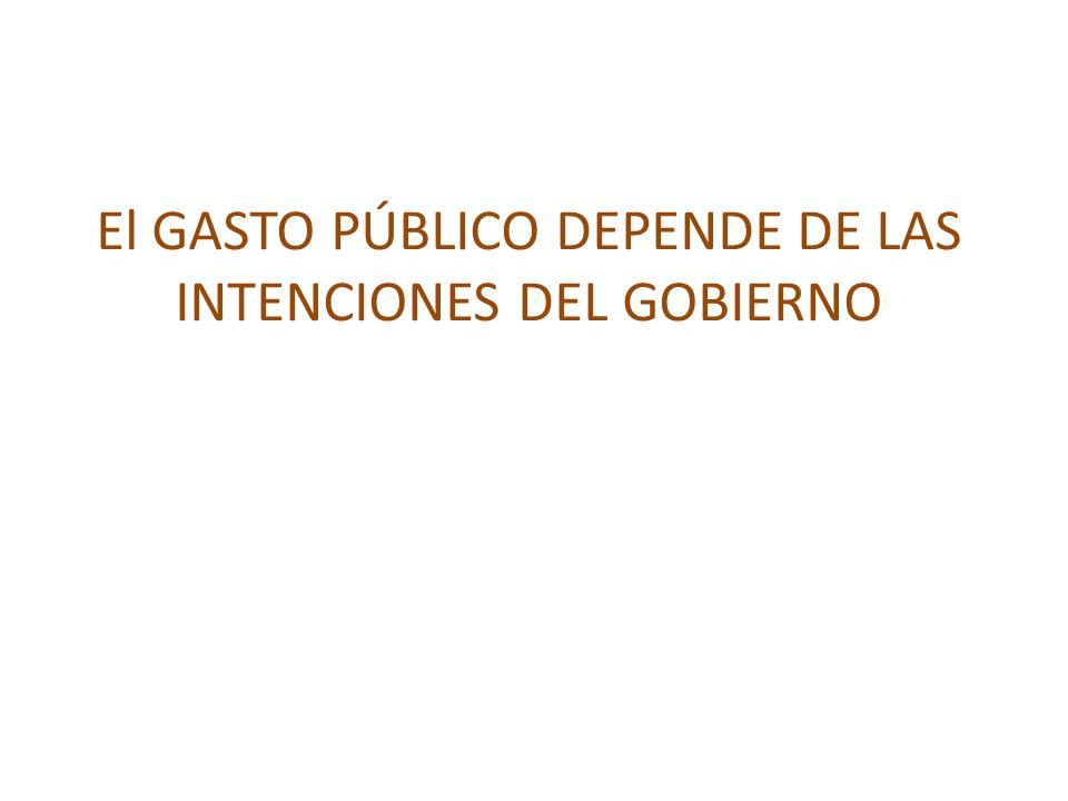 El GASTO PÚBLICO DEPENDE DE LAS INTENCIONES DEL GOBIERNO