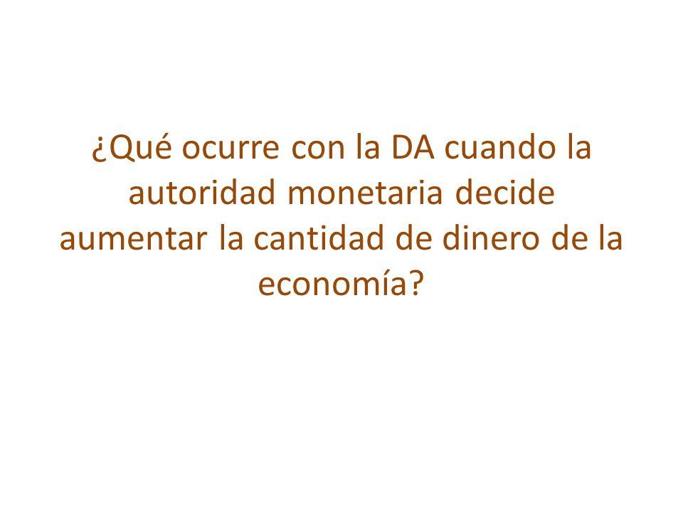 ¿Qué ocurre con la DA cuando la autoridad monetaria decide aumentar la cantidad de dinero de la economía?