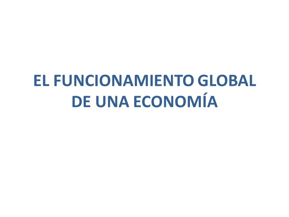 EL FUNCIONAMIENTO GLOBAL DE UNA ECONOMÍA
