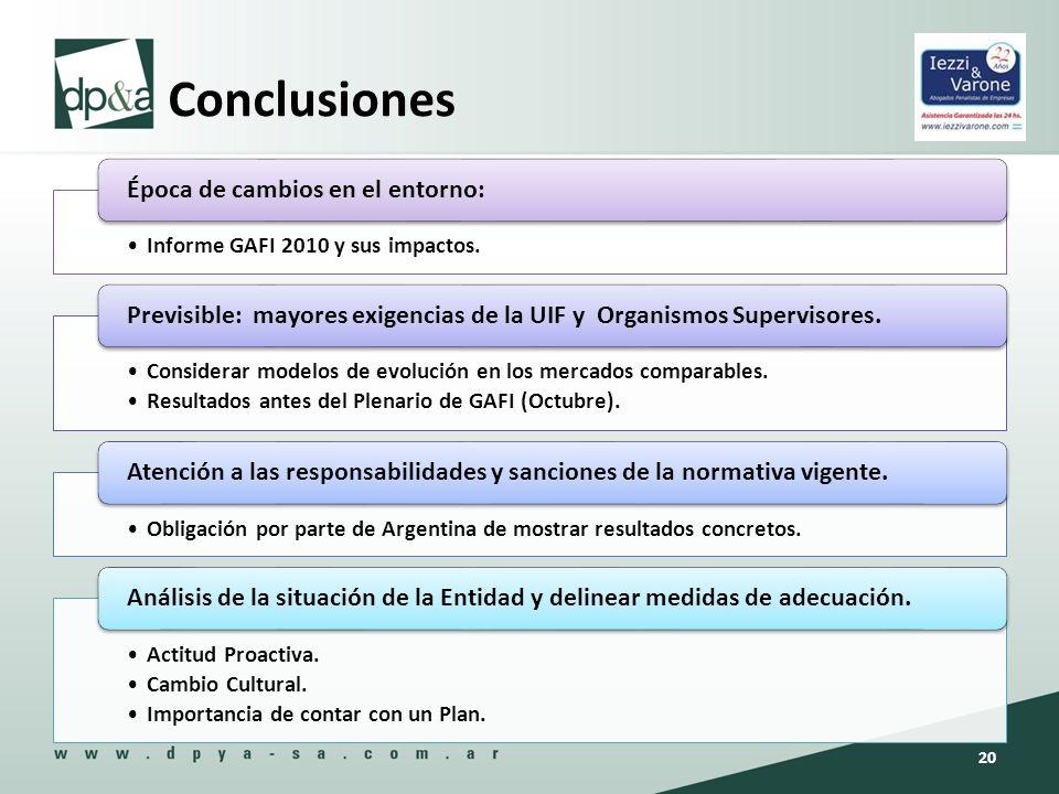 Conclusiones Informe GAFI 2010 y sus impactos. Época de cambios en el entorno: Considerar modelos de evolución en los mercados comparables. Resultados