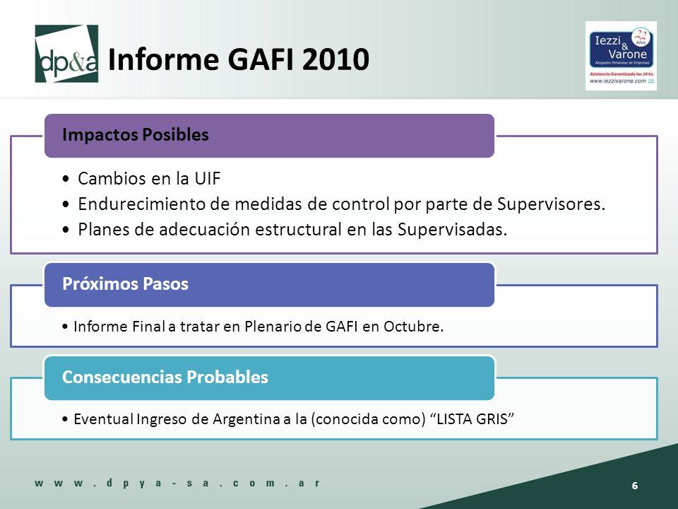 Informe GAFI 2010 Cambios en la UIF Endurecimiento de medidas de control por parte de Supervisores. Planes de adecuación estructural en las Supervisad