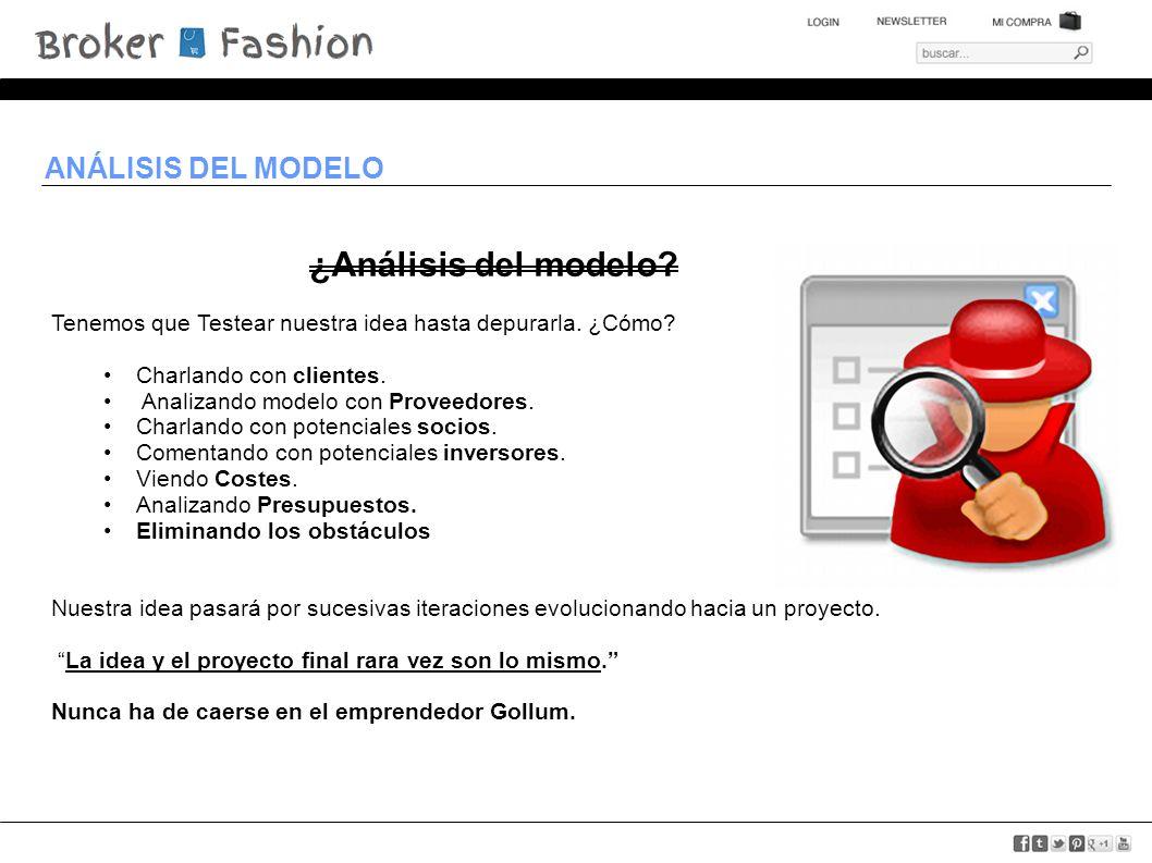 ANÁLISIS DEL MODELO ¿Análisis del modelo. Tenemos que Testear nuestra idea hasta depurarla.