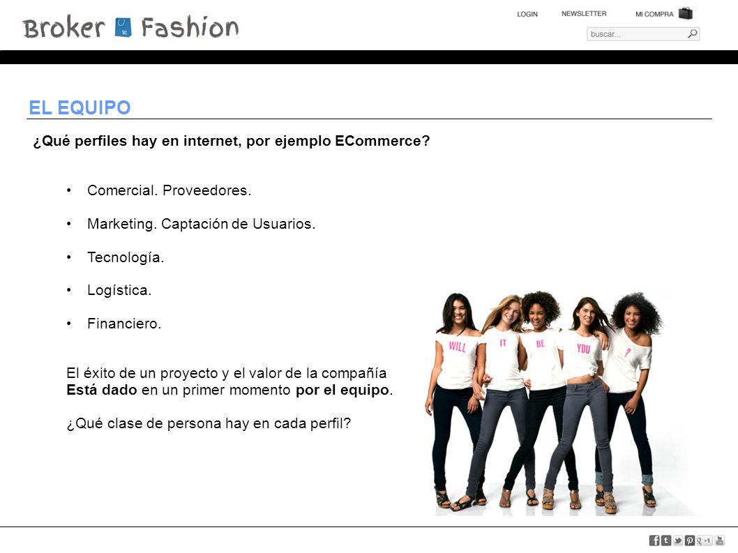 EL EQUIPO ¿Qué perfiles hay en internet, por ejemplo ECommerce? Comercial. Proveedores. Marketing. Captación de Usuarios. Tecnología. Logística. Finan