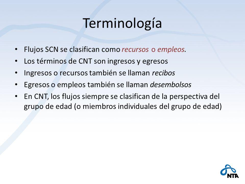 Terminología Flujos SCN se clasifican como recursos o empleos. Los términos de CNT son ingresos y egresos Ingresos o recursos también se llaman recibo