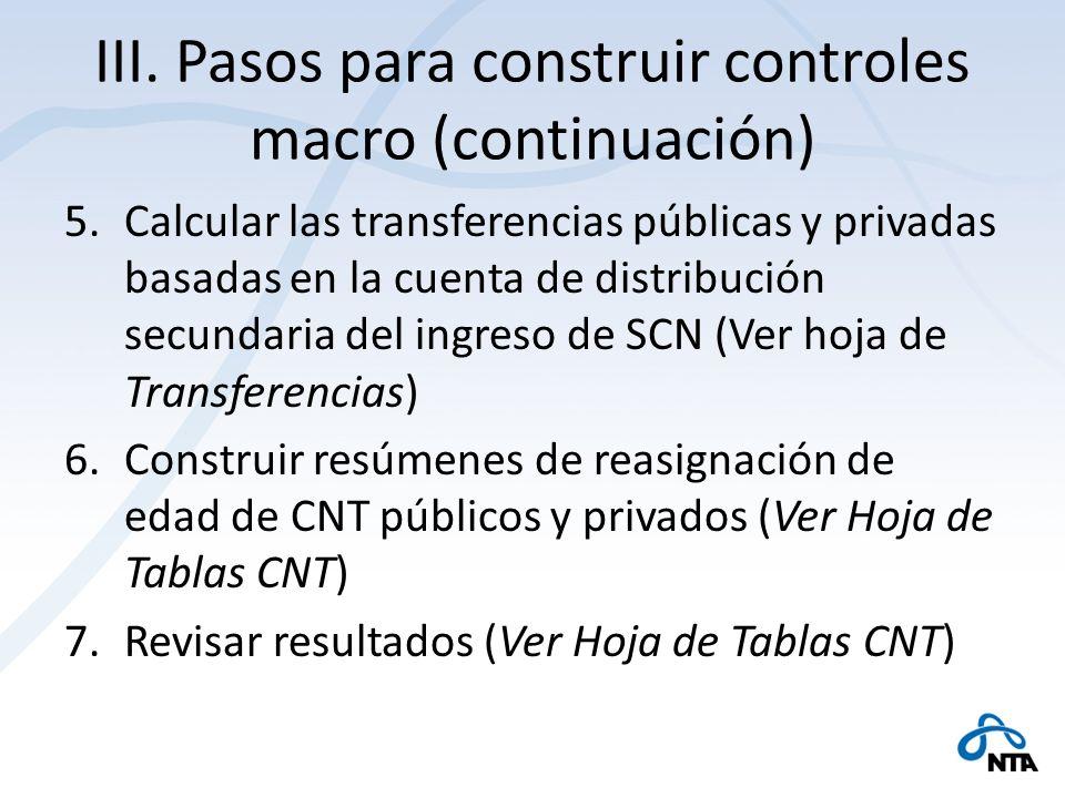 III. Pasos para construir controles macro (continuación) 5.Calcular las transferencias públicas y privadas basadas en la cuenta de distribución secund